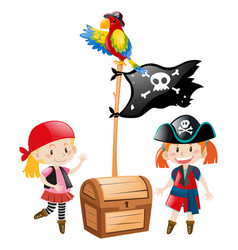 Two pirate crews and flag vector