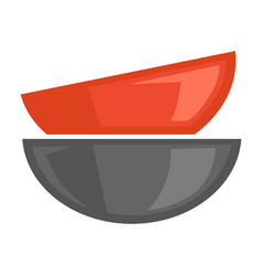 Two red and grey bowls on white poster vector