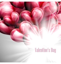 Valentines day label on the red balloon hearts vector