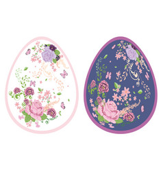 Vintage roses ornament on eggs vector