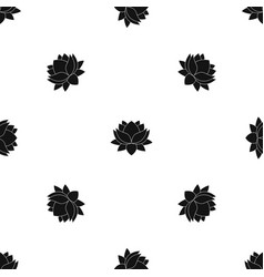 Water lily flower pattern seamless black vector