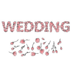 Wedding sign or lettering made with sakura flowers vector