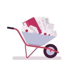 Wheelbarrow full of papers folders letters vector