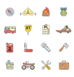 Travel icons set flat outline style vector