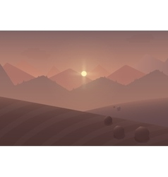 Cartoon sunset mountain landscape background with vector
