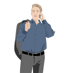Man talking on the phone vector