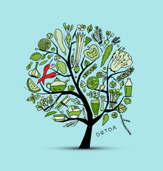 Tree with green vegetables sketch for your design vector