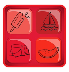 A cube with foods and things for summer vector
