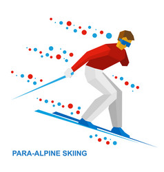para-alpine skiing sportsman with disabilities vector image