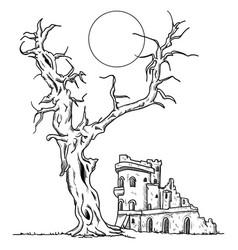 Tree and ruin castle vector