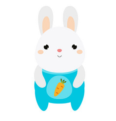 Cute rabbit bunny in jumpsuit white hare vector