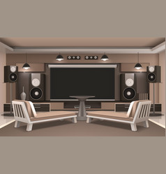 Home cinema interior with round table vector