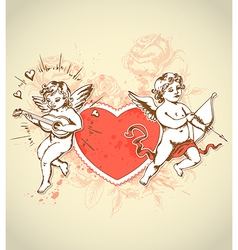 red heart and cupids vector image