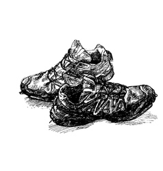 Pair of old running shoe vector