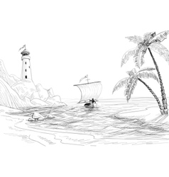 Beach sea and boat sketch vector