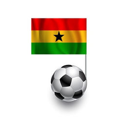 Soccer balls footballs with pennant flag of gana vector