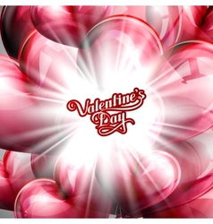 Balloon hearts background with shiny burst vector