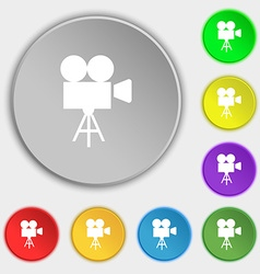 Video camera icon sign symbol on eight flat vector