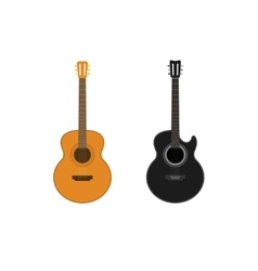 Acoustic guitars set isolated on white vector