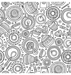 Cartoon hand-drawn coffee shop seamless pattern vector