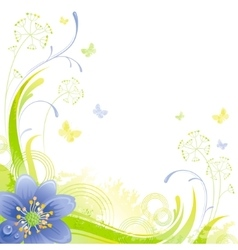Floral summer background with blue snow drop vector