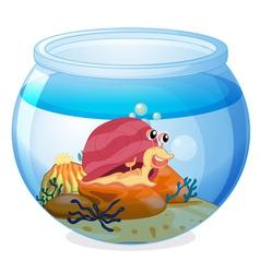 A snail inside an aquarium vector image vector image