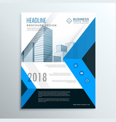 A4 blue annual report brochure flyer design vector