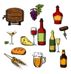 Alcohol drinks beverages and food vector