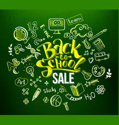 Back to school sale in doodle frame vector