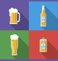 beer mug glass bottle beer can vector image