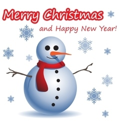 Christmas and new year postcard with a snowman vector