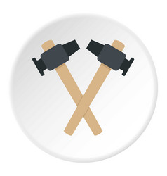 Crossed blacksmith hammer icon circle vector
