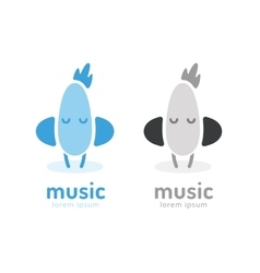 Cute chick silhouette logo icon chicken music vector