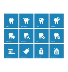 Dental icons on blue background vector