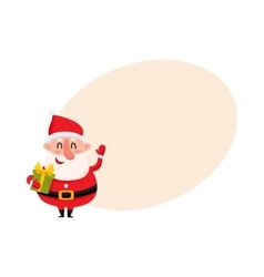 Funny Santa Claus holding Christmas gift and vector image