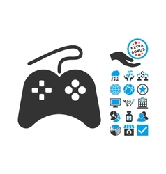 Gamepad Flat Icon With Bonus vector image