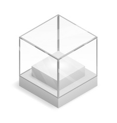Glass isometric isolated box 3d realistic shop vector