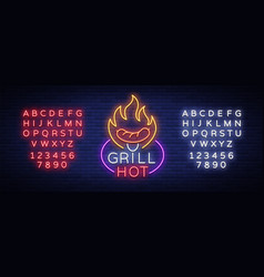 grill logo in a neon style on vector image
