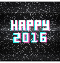 Happy 2016 technology greeting card on noisy tv vector