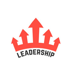 Leadership icon with red crown vector