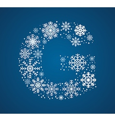 Letter g font frosty snowflakes vector