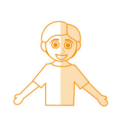 Orange silhouette shading caricature half body boy vector