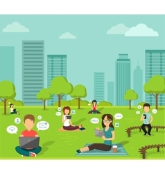 People in the park online web design flat vector