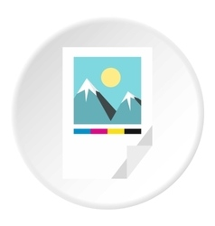 Printed picture icon flat style vector