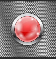 red round glass button with metal frame on steel vector image vector image