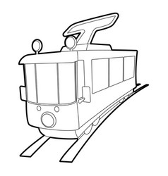 Tram icon outline style vector