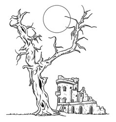 tree and ruin castle vector image