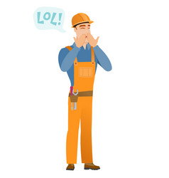 young caucasian builder laughing out loud vector image vector image