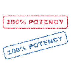 100 percent potency textile stamps vector