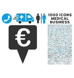 Euro map pointer icon with 1000 medical business vector